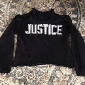 Justice for Girls cold shoulder sweatshirt.